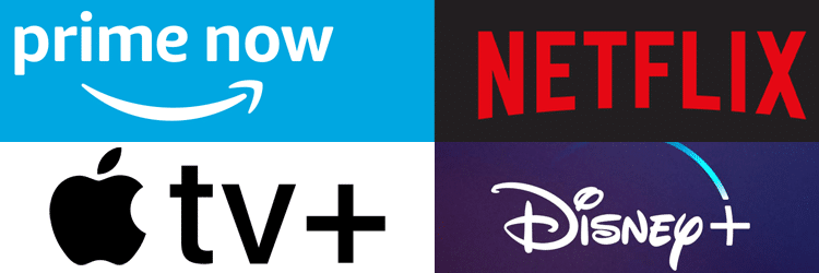 אמזון פריים, נטפליקס, דיסני +, אפל tv +